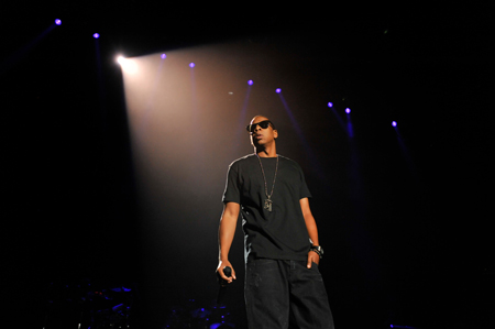 "Jay-Z wearing ""all black everything"" at PSU. Photo by Andy Colwell."