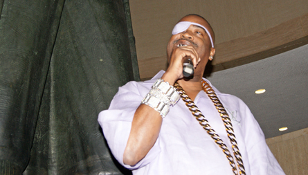 Slick Rick. Photo by Leon Laing.