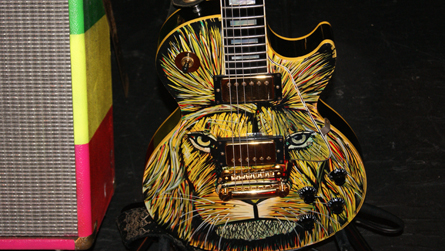 Stephen Marley's guitar. Photo by Leon Laing.