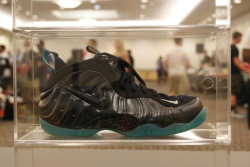 Dark Obsidian Foamposite Pro in Shoe Exhibit display. Photo by Leon Laing.