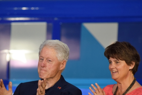 Bill Clinton (left) and Anne Holton. Photo by Leon Laing.