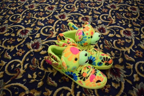 Flower Power bear sneakers by Jeremy Scott and Adidas. Photo by Leon Laing.