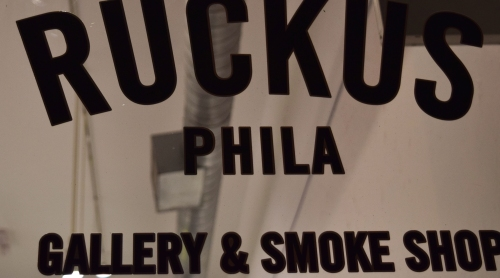 Ruckus Gallery sign. Photo by Leon Laing.